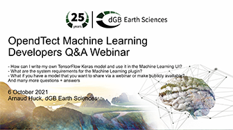 OpendTect Machine Learning Developers Q&A Webinar: how to use my own Keras model in the ML UI?