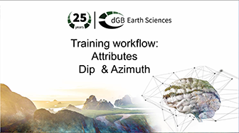 Training workflow: Attributes - Dip & Azimuth